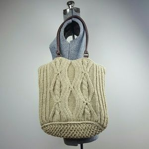 Tan Knit Tote Bag